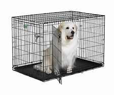 "Large 48"" Double Door Folding Metal Dog Crate Cage w/ Divider Panel & Floor Tray"