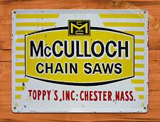 "TIN-UPS TIN SIGN ""McCulloch Chain Saws""  Rustic Garage Tool Wall Decor"