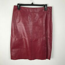Kenneth Cole Red Leather Pencil Skirt Lined Womens Size 6 Career Solid Slit