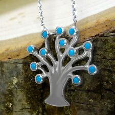Sterling Silver Tree Of Life Turquoise Chain Necklace