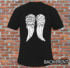 Walking Dead Daryl Wings Back Print T Shirt S M L XL 2XL
