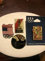 4 VINTAGE  Coca-Cola OLYMPIC SPONSOR PIN LAPEL HAT.  SUPPORT USA