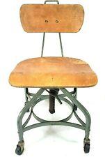 Vintage Toledo Metal Furniture Co. Industrial Adjustable Drafting Chair Mcm