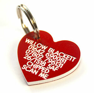 Pet Dog Cat ID Collar Tags - Deeply engraved FREE, 30mm plastic heart. 7 COLOURS