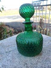 Vintage Fenton Art Glass Bright Green Decanter w/ Round Stopper Diamond Hobnail