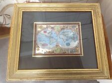 Rare Old World Foil Map Wood Antique Frame Double Matted Globe Art Magallanica