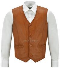Men's Leather Waistcoat Tan Party Fashion Stylish Napa Leather Vest 5226