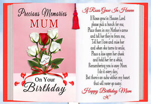 MUM BIRTHDAY REMEMBERANCE MEMORIAL GRAVESIDE KEEPSAKE CARD & FREE HOLDER