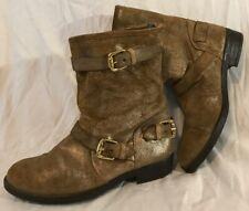 Ladies Gold Mid Calf Leather Lovely Boots Size 5 (563Q)