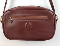 Vintage Cartier Leather Shoulder Bag Burgundy Red Messenger Purse