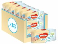 HUGGIES PURE BABY WIPES 18 PACK HEALTHY SKIN, HYPOALLERGENIC - TOTAL 1008 WIPES