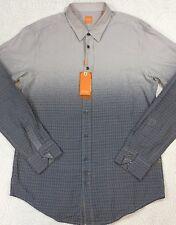 Men's HUGO BOSS L/S Shirt XL X-Large Reg Fit Gray Black Ombre Print $155 New NWT