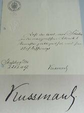 Internist & Dichter Adolf KUSSMAUL (1822-1902): Zeugnis Uni STRASSBURG 1887