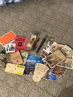 Vintage Junk Drawer Lot Fishing Lures Post Cards Lock Keys Maps OHIO Buckeye's