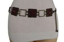 Women Antique Gold Metal Charm Vintage Fashion Belt Hip Waist Red Beads S M L