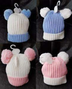 BABY POMPOM HAT. 0 TO 12 MONTHS VARIOUS COLOURS