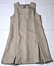 Nautica Girls School Uniform Dress Size 14 Khaki Jumper Sleeveless Polyester