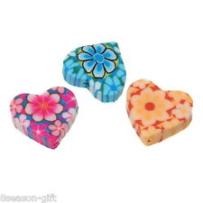 250PCs Mixed Polymer Clay Flower Heart Charm Beads 15mm x13mm
