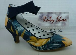 Ruby Shoo Eden Ladies Navy Blue Floral Bow Low Heel Ankle Strap Court Shoe