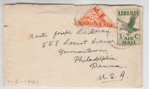 Liberia # C5, C7 Catholic Mission Cover to PA Fauna Bird Triangle 17 11 1942