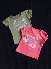 Baby clothes GIRL 6-9m Mothercare/Early Days 2 short sleeve t-shirts pink &green
