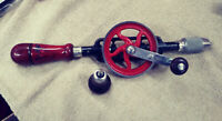 Millers Falls Tools Vintage No. 5A Eggbeater Hand Drill Old Woodworking - Clean