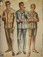VTG 62 McCALLS 6597 Mens Proportioned Pajamas/Top Pants & Shorts  PATTERN 34-36
