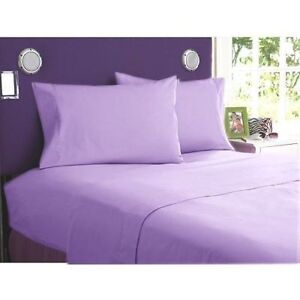 UK Double 4 PC Bed Sheet Set Egyptian Cotton 1000 Thread Count Lilac Solid