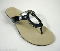 Marc Fisher Thong Sandals Size 6 M B Black Silver Hardware Lick Flip Flop Casual
