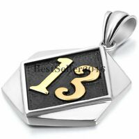 Men's Lucky 13 Biker Motorcycle Club  Stainless Steel Dog Tag Pendant Necklace