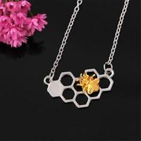 bumble Bee Honeycomb pendant necklace Beehive honey Link Chain gold silver charm