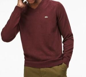 Lacoste Mens Jumper size XL (6) BNWT Red V Neck Cotton AH4087 Genuine