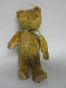 """EARLY ANTIQUE GOLDEN JOINTED TEDDY BEAR ~ 14"""""""