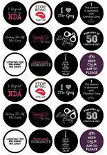 24 x 50 Shades Of Grey Edible Cupcake Toppers , Christian Grey Pre-Cut