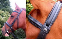 HERITAGE English Leather Comfort Padded Poll Crank or Cavesson Dressage Bridle