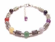 Sterling silver chakra bracelet Celtic gemstones gem stone amethyst lapis garnet