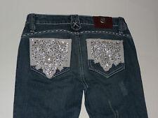 EUC Antik Denim Sequin Beaded Embellished Pocket Bootcut Stretch Jeans 25 x 34