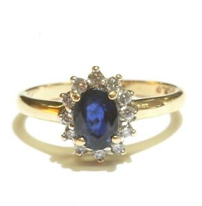 10k Solid Yellow Gold Natural Diamond Sapphire Women Ring Estate Antique Sz 6.75