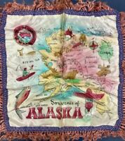 VTG 1940s Territory Alaska, Satin Souvenir PillowCase, Sham, Bristol Bay, Nome+