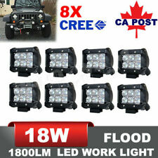 18W 8x 4 inch Flood CREE LED Work Light Pod Offroad 4WD Driving Light ATV Pickup