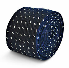 Frederick Thomas navy blue tie with white spots in 100% cotton FT3194