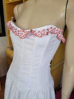 Vintage 90s Betsey Johnson Winter White Corset Strapless Punk Party Dress S/M
