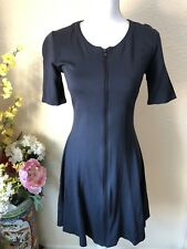 Theory Blue Black Front Zip Flare Short Sleeve Dress Sz 8 Medium