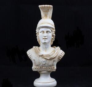 "Alexander the Great Greek Bust Statue Alabaster Patina Handmade 7.5"""
