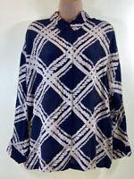 MASAI Navy blue cream check print crepe blouse shirt top size L Large 14 euro 42