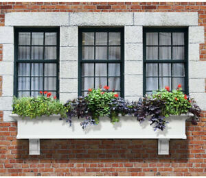 6 ft. White Window Box Planter Pot Garden Flower Herb Self Watering Outdoor Box