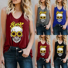 Women Fashion Casual O-Neck Floral Skull Print Sleeveless T-Shirt Tank Top Vest