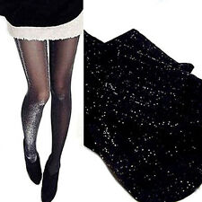 Womens Lady Shiny Tights Sparkle Party Silver Glitter Stockings Pantyhose Black