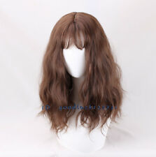 Medium Brown Long Curly Fluffy Hermione Cosplay Wigs +a wig cap