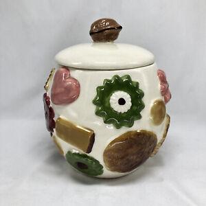 "Vintage Cookie Jar Los Angeles Pottery ""Cookies All Over"" w/Walnut on Lid"